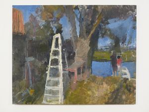 Stepladder by the River by Sargy Mann contemporary artwork