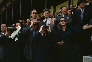 Spectators at Longchamp Racecourse Paris. by Robert Capa contemporary artwork