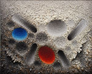 Aggregation 12 - MY020 Blue & Red by Chun Kwang Young contemporary artwork