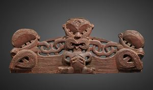 Small lintel or pare (also known as korupe) from a marae, the meeting-house, or from a pataka, the chiefly treasure and food storage house by Polynesia contemporary artwork