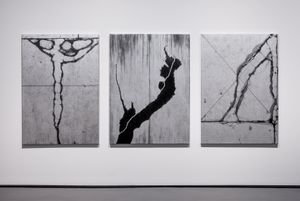Shoegazer (triptych silver) by Andrew Browne contemporary artwork