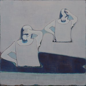 The Backs of Two Girls Stroking Their Hair by Tang Yongxiang contemporary artwork