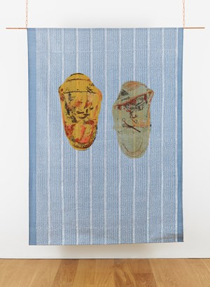 Alkaline battery, lighter with printed design of a jeans pocket, cans of food by Shezad Dawood contemporary artwork