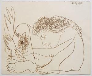 Femme au coq accroupie by Pablo Picasso contemporary artwork