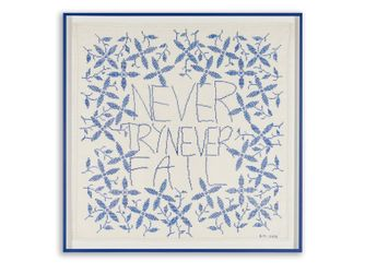 Des Hughs, Never Try Never Fail(2015). Antique embroidery with cotton silk cross stitch on linen. 85 cm x 85 cm. Courtesy Buchmann Galerie, Berlin.