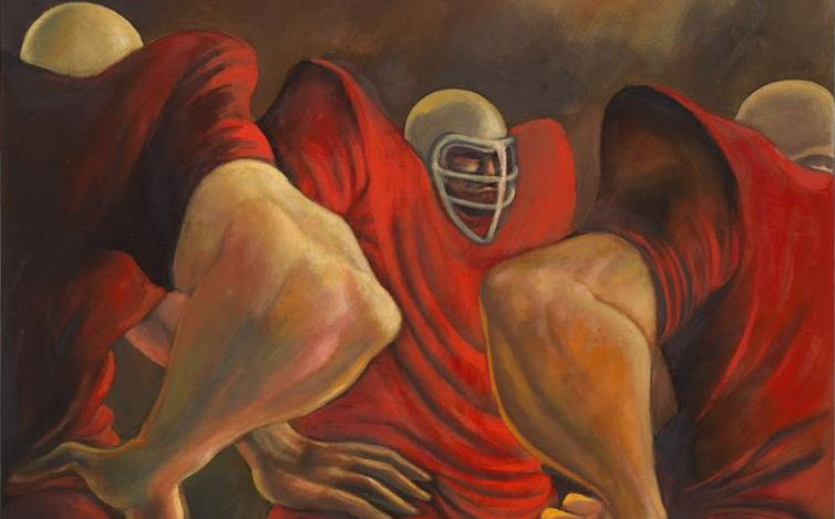 Ernie Barnes, Blood Conference aka Three Red Linemen(1966) (detail). Courtesy Andrew Kreps Gallery.