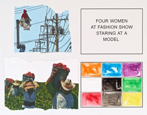 Storyboard (In 4 Parts): Four Women At Fashion Show Staring At A Model by John Baldessari contemporary artwork
