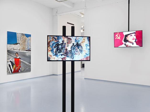 Exhibition view: Paulina Olowska,Belavia, Metro Pictures, New York (15 November–21 December 2018). Courtesy Metro Pictures.
