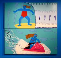 Big Wave Surfing by Claudia Kogachi contemporary artwork painting, works on paper