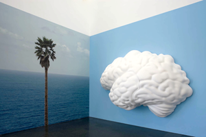 Brain/Cloud (Two Views): with Palm Tree and Seascape by John Baldessari contemporary artwork