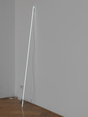 Leaning Horizon (neon 7000 Kelvin, 2.1 m) by Cerith Wyn Evans contemporary artwork