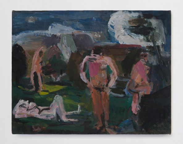 Bathers after Cézanne, 2015. Oil on canvas, 11 x 14 in.  Courtesy Thomas Erben Gallery.