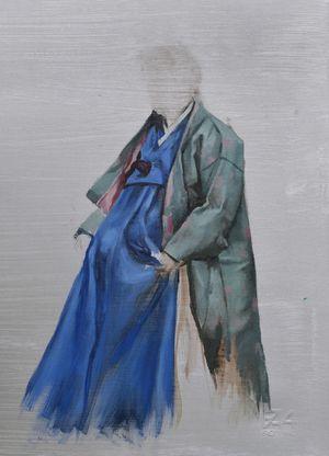 Blue Hanbok Study by Helena Parada Kim contemporary artwork