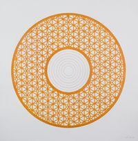 Flowers (Orange Circle) by Anila Quayyum Agha contemporary artwork painting