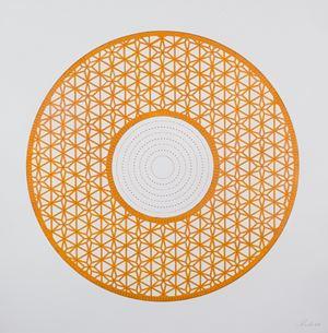 Flowers (Orange Circle) by Anila Quayyum Agha contemporary artwork