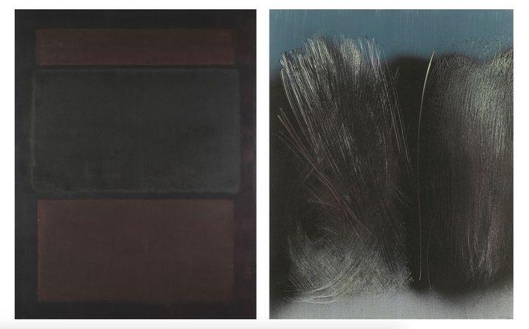 Left: Mark Rothko, N° 14 (Browns over Dark) (1963). Oil and acrylic on canvas. 228.5 x 176 cm. Centre Pompidou, Paris, Musée national d'art moderne - Centre de création industrielle. Achat de l'Etat (1968). Attribution, 1976 (C) Kate Rothko Prizel & Christopher Rothko/ ADAGP, Paris 2021. Photo: © Centre Pompidou, MNAM-CCI, Dist. RMN-Grand Palais / image Centre Pompidou, MNAM-CCI. Right: Hans Hartung, T1963-R37 (1963). Vinylic paint on canvas. 180 x 142 cm. © Hans Hartung / ADAGP, Paris 2021. Courtesy Fondation Hartung - Bergman & Perrotin.