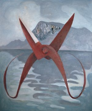 Red Scissors with the Western Hills and the Dianchi Lake by Mao Xuhui contemporary artwork