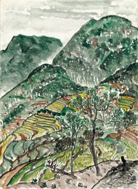 Peach Orchard and Terraces by Lin Chuan-Chu contemporary artwork painting, works on paper, drawing