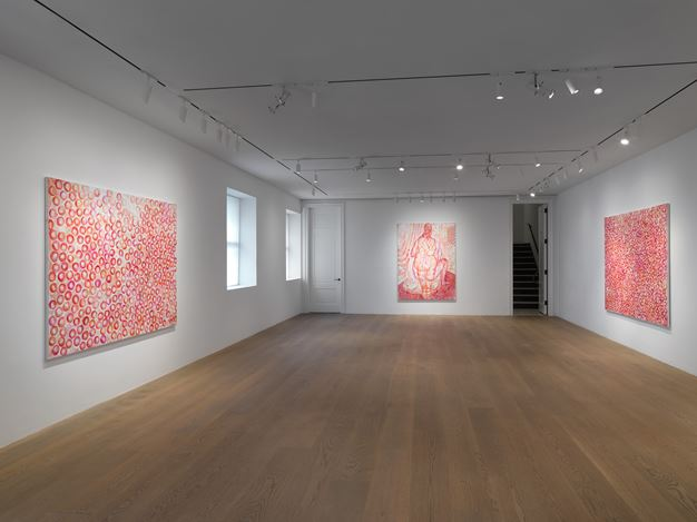 Exhibition view: Jutta Koether, 4 the Team, Lévy Gorvy, New York (27 February–18 April 2020). Courtesy Lévy Gorvy. Photo: Dario Lasagni.