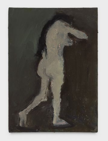 Standing Nude with Long Hair, 2021. Oil on panel, 7 x 5 in.  Courtesy Thomas Erben Gallery.