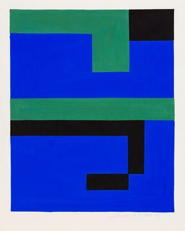 Gordon Walters, Blue/Green II (1952). Gouache, 315 x 190mm image size. Image courtesy of the Walters Estate and Starkwhite.