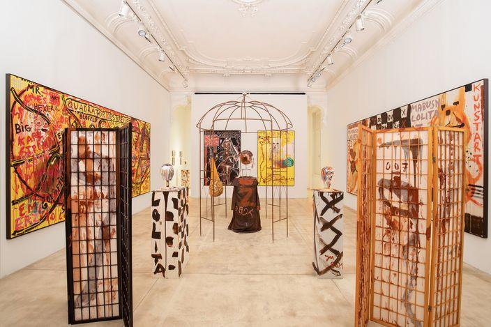 Exhibition view: Jonathan Meese,DIE DR. MABUSENLOLITA (ZWISCHEN ABSTRAKTION UND WAHN), Galerie Krinzinger, Vienna (12 March–15 May 2021). Courtesy Galerie Krinzinger.