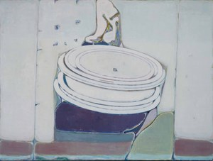 A Few Plate-Like Ovals, Underneath Are Blocks of Color, Seperate Lines Either Side by Tang Yongxiang contemporary artwork