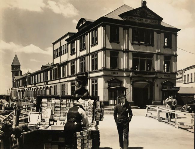 Department of Docks and Police Station, Pier A, North River, Manhattan, May 5 by Berenice Abbott contemporary artwork