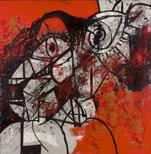 Red and Black Diagonal Portrait by George Condo contemporary artwork
