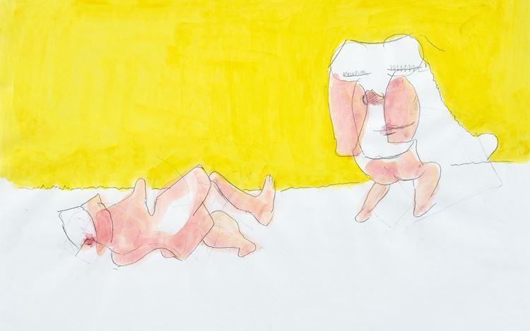 Maria Lassnig, Untitled (2005) (detail). Pencil, watercolour, acrylic on paper. 49.8 x 69.7 cm. © Maria Lassnig Foundation. Courtesy the Foundation and Hauser & Wirth. Photo: Jon Etter.
