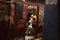 New York, Balloons in the Subway by Frank Horvat contemporary artwork photography