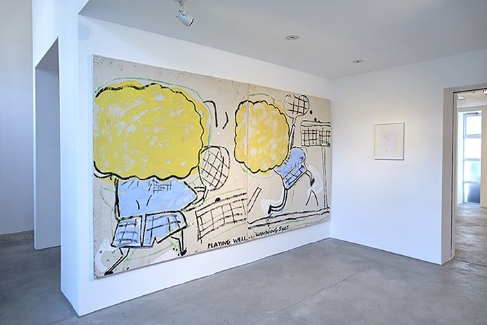 Exhibition view: Rose Wylie, Cupid & Fur Coat, CHOI&LAGER Gallery, Cologne (10 March–7 May 2017). Courtesy CHOI&LAGER Gallery.