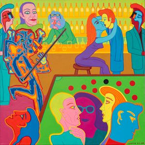Bar scene with abstract figure no.2 by Christopher Battye contemporary artwork