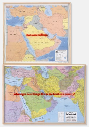 Middle East (NIMA and Gitashenasi maps) by Sam Durant contemporary artwork