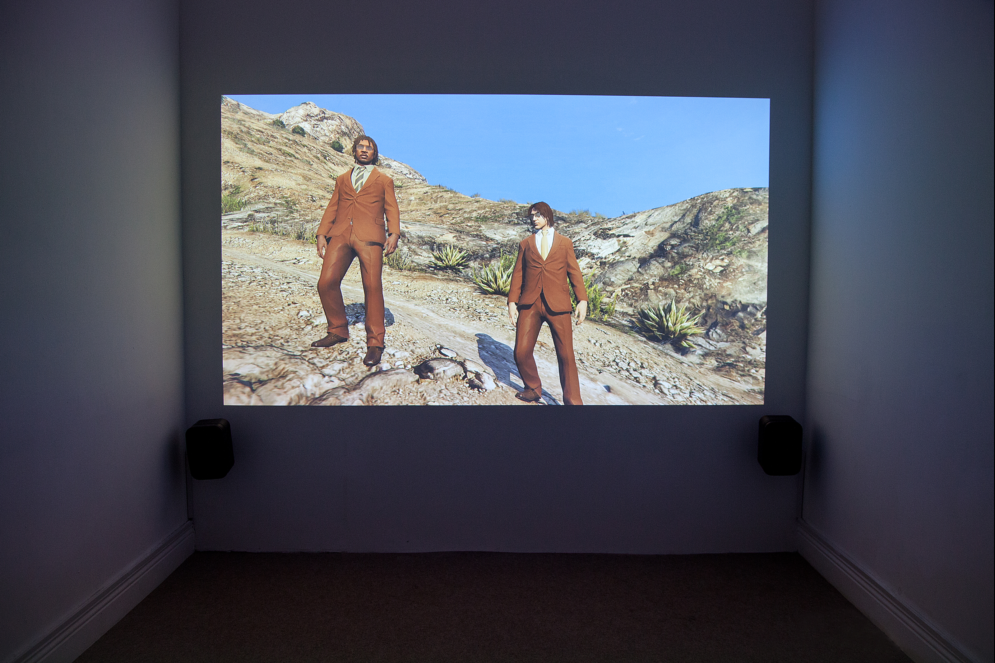 Larry Achiompong and David Blandy, Finding Fanon 2, 2015. UHD digital video, 9 min, 13 sec. Exhibition view at EVA International – Ireland's Biennial 2016. Photo Miriam O'Connor. Courtesy the artists and EVA International.