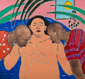Woman with Two Men by Gabriel Buttigieg contemporary artwork