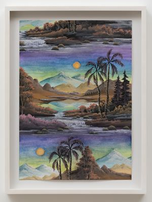 Palmy Valley (Lime green Sunrise) by Neil Raitt contemporary artwork