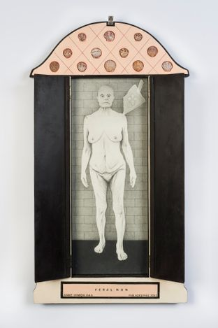 Feral Nun (closed view), 2013. Oil on wood, shells and found  objects, 39 x 19 in. Courtesy of Robert and Frances Coulborn Kohler collection.