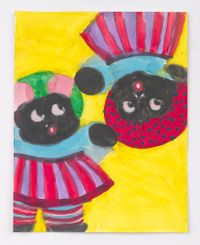 Two Girl Dolls by Betye Saar contemporary artwork painting