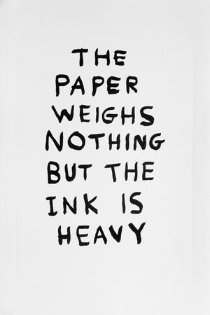 The Paper Weighs Nothing by David Shrigley contemporary artwork print