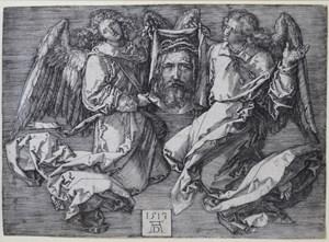Das Schweißtuch von zwei Engeln gehalten Kupferstich by Albrecht Dürer contemporary artwork print
