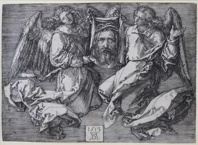 Das Schweißtuch von zwei Engeln gehalten Kupferstich by Albrecht Dürer contemporary artwork