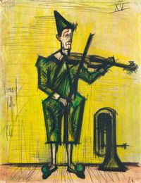 Le clown musicien by Bernard Buffet contemporary artwork drawing