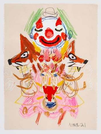 Robert Nava,Untitled (2021). Acrylic, crayon, and grease pencil on paper. 76.2 × 56.5 cm. © Robert Nava. Courtesy Pace Gallery.