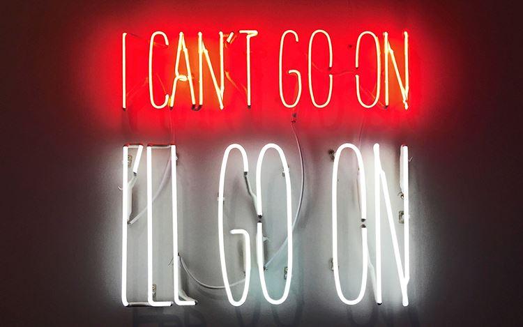 Alfredo Jaar, I Can't Go On. I'll Go On. (2016). Neon. Edition of 36 + 6AP. 50 x 50 x 4 cm. Courtesy Galerie Lelong & Co. New York.