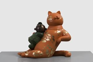 Orange Cat - Ocean by Jiang Shuo contemporary artwork