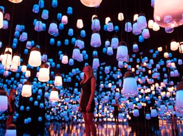 1000s of motion-activated glass lamps form a hanging garden of light