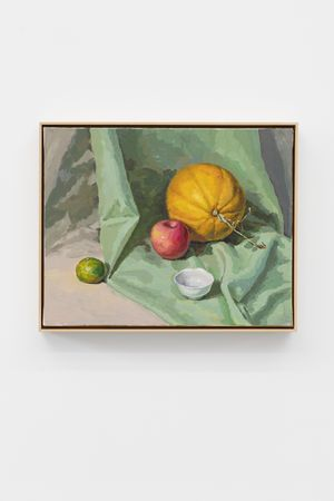 Melon, Orange, Apple, and The Tea Cup by Ge Yulu contemporary artwork painting, sculpture