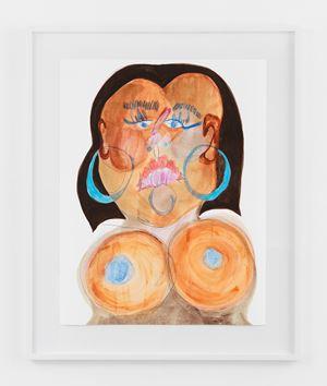 Black Face with Brown Bob by Tschabalala Self contemporary artwork