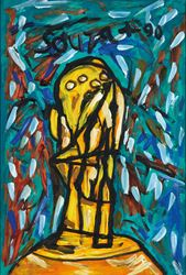 F. N. Souza, Head (1990). Acrylic on paper. 55 x 37 cm / 21.7 x 14.5 in. CourtesyGalerie Mirchandani + Steinruecke.